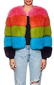 Lisa Perry Women's Striped Fox Fur Coat - Pink, Orange