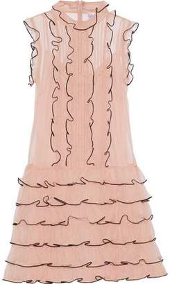 RED Valentino Ruffle-Trimmed Pintucked Tulle Mini Dress