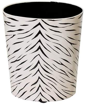 Worlds Away Black and Cream Animal Print Wastebasket