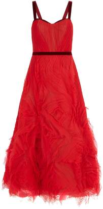 Marchesa Tulle Ruffle Gown