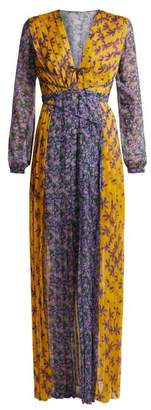 Raquel Diniz - Lily Floral Print Pleated Silk Gown - Womens - Yellow Multi