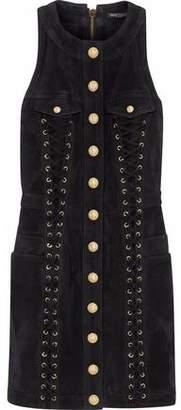 Balmain Lace-Up Button-Detailed Suede Mini Dress