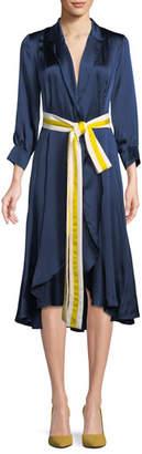 Alexis Turner Belted Silk Midi Dress