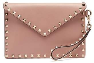 Valentino - Rockstud Leather Envelope Clutch - Womens - Nude