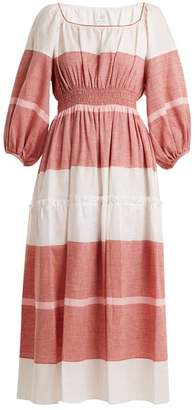 Gül Hürgel Gul Hurgel - Puff Sleeved Striped Linen Blend Dress - Womens - Red Stripe