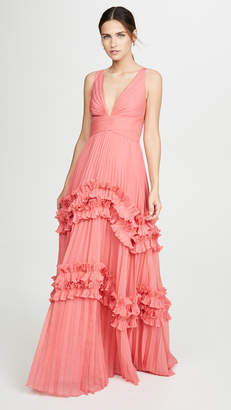 Halston Sleeveless V Neck Gown with Smocked Ruffle Inserts