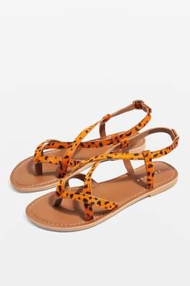 f50bd077 Topshop Womens **Wide Fit Hazy Leopard Sandals - Orange