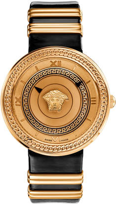 Versace 40mm V-Metal Icon Watch w\/ Leather Strap Gold