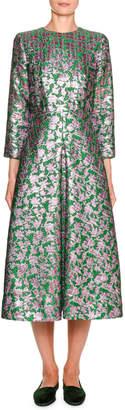 Little Miss Double J Floral Jacquard 3/4-Sleeve Midi Dress