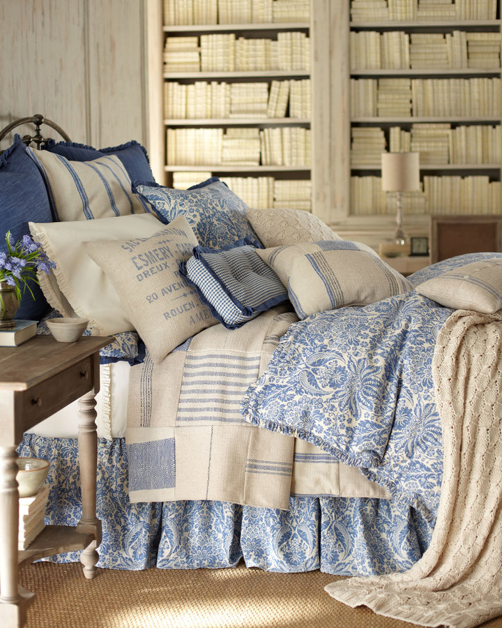 """Horchow French Laundry Home """"Indigo Sea"""" Bed Linens"""