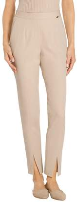 St. John Fine Stretch Twill Pull On Faux Fly Front Pant
