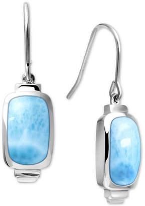 Marahlago Larimar (8 x 13mm) Drop Earrings in Sterling Silver