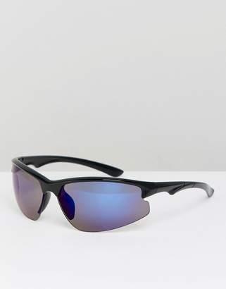 Asos DESIGN visor sunglasses in black with blue mirror lens