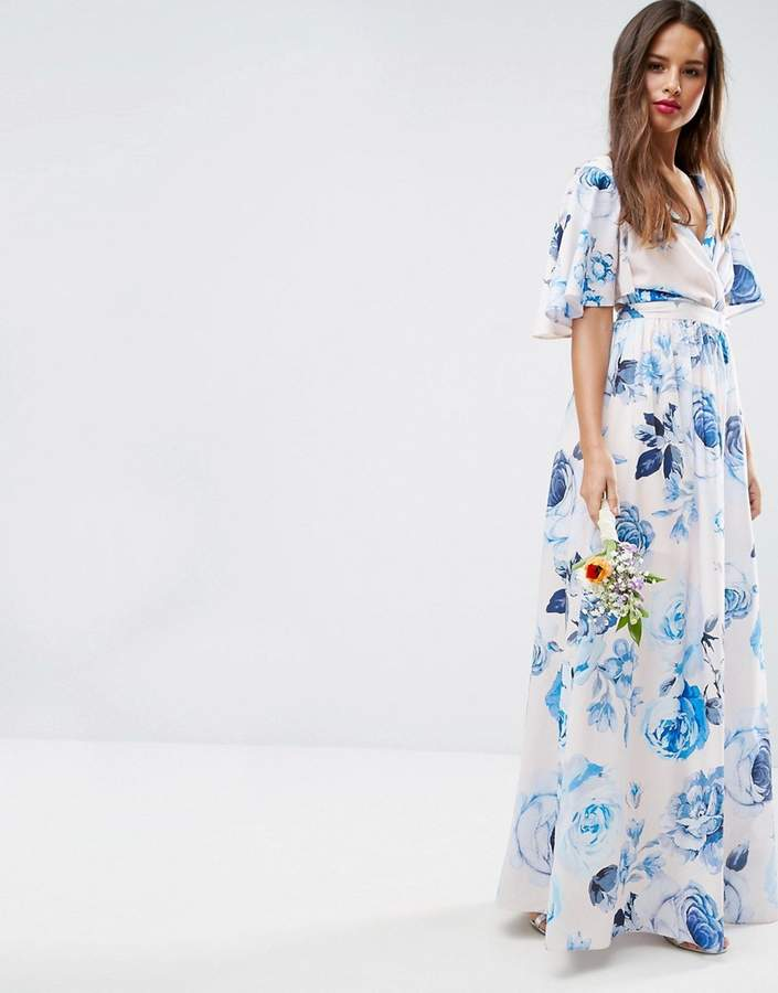 Asos ASOS WEDDING Pink Base Floral Flutter Sleeve Maxi Dress