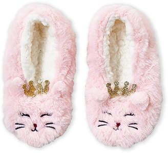 Capelli New York (Toddler/Kids Girls) Faux Fur Royal Kitty Slipper Socks