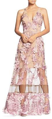 Dress the Population Gigi Floral Illusion Gown