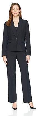 Le Suit Women's Mini Pinstripe 1 Bttn Shawl Collar Pant