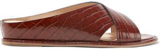 Ellington Leather Goods Gabriela Hearst Croc-effect Leather Wedge Sandals - Brown