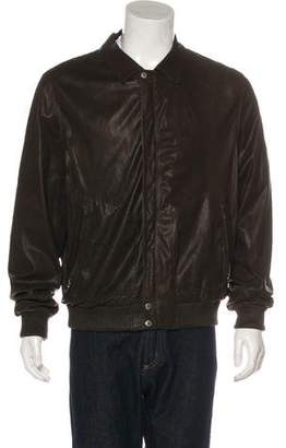 Prada Sport Leather Zip-Up Jacket