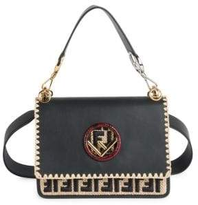 Fendi Kan I F Leather Shoulder Bag With Raffia Embroidery and Trimmings
