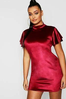 boohoo NEW Womens Plus Velvet High Neck Cap Sleeve Bodycon Dress in