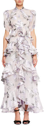 Erdem Twist-Neck Floral-Jacquard Long Dress with Tiered Frills