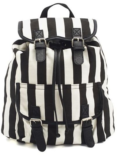 Charlotte Russe Striped Canvas Backpack