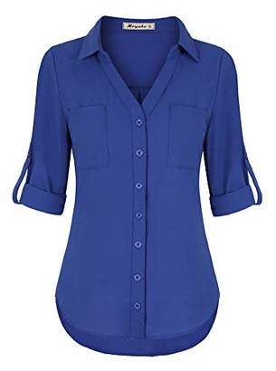 Moyabo Office Blouses for Women Plus Size 3/4 Sleeve T-Shirt Button Down V Neck Office Tunic Blouse