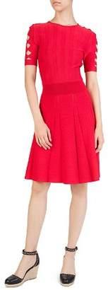 The Kooples Ribbed Pleated Cutout-Sleeve Dress