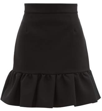 MSGM Ruffled Hem Crepe Mini Skirt - Womens - Black