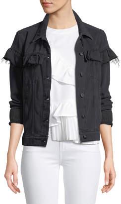 Paige Heidi Button-Front Denim Jacket with Ruffled Trim