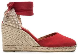 Castaner red Carina 80 cotton canvas wedge sandals