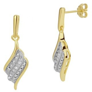 Forever New Sterling Silver 2Tone Diamond Accent Swirl Drop Earrings