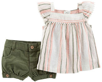 Carter's 2pc Stripe Short Set - Baby Girl