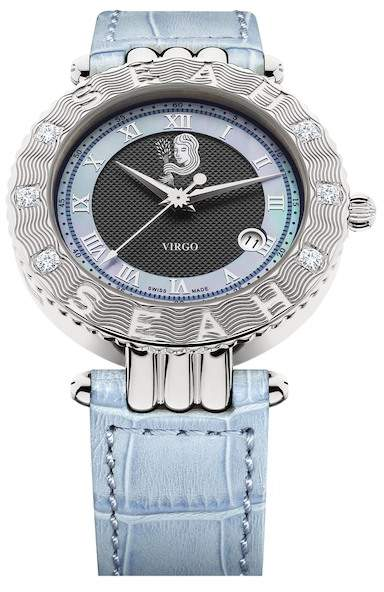 Seah Designs Unisex Black/Light Blue Genuine Alligator Diamond Accented Empyrean Zodiac Watch - Virgo - 0.50 ctw