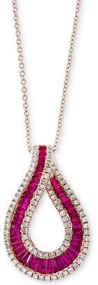 Effy Amoré by Certified Ruby (1-1/10 ct. t.w.) & Diamond (3/8 ct. t.w.) Teardrop Pendant Necklace in 14k Rose Gold