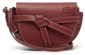 Loewe Gate Mini Leather Cross Body Bag - Womens - Burgundy