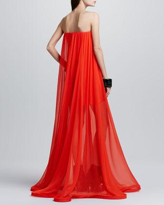 Alexis Miranda Strapless Sheer-Skirt Maxi Dress, Red Orange