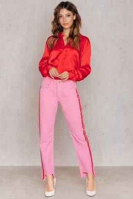 NA-KD Na Kd Asymmetric Hem Side Panel Jeans Pink