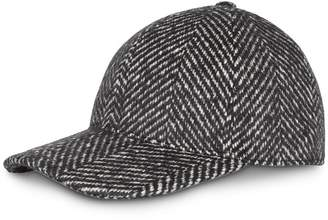 Burberry Herringbone Wool Silk Blend Baseball Cap