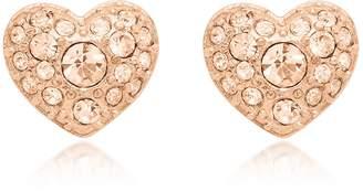 Fossil Glitz Heart Rose Gold Tone Women's Earrings