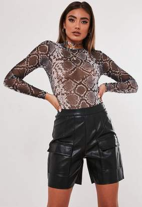 Missguided Jordan Lipscombe X Black Faux Leather Utility Shorts