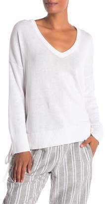 BCBGMAXAZRIA V-Neck Side Lace Sweater