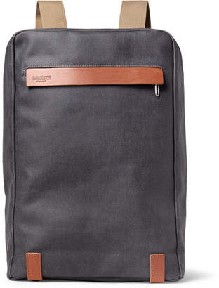 Brooks England Pickzip Leather-Trimmed Cotton-Canvas Backpack