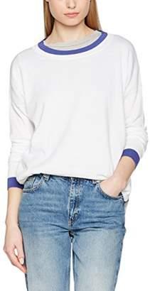 Benetton Women's Loose Fit Contrast Trim Sweater Jumper, (Grey Melange), X-Large