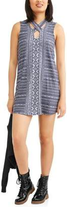 Derek Heart Juniors' Printed Sleeveless Cross Strap Neck Dress