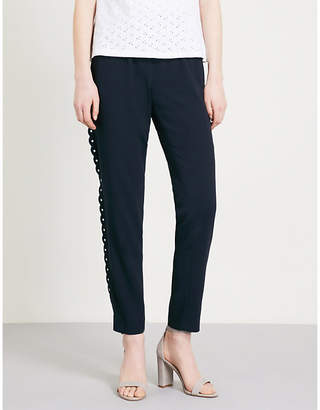 Claudie Pierlot Scalloped-trim high-rise crepe trousers