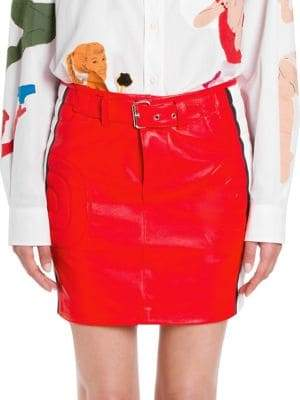 Moschino Women's Racecar Leather Skirt - Size 44 (10)