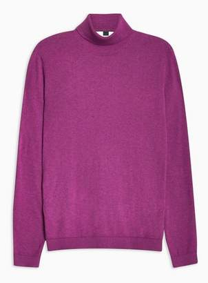 Topman Mens Purple Marl Essential Turtle Neck Sweater