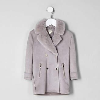 River Island Mini girls light grey faux fur suede coat